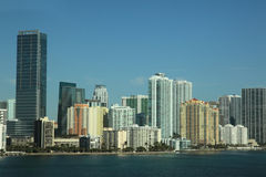 Miami skyline scene with harbor and buildings Royalty Free Stock Photo