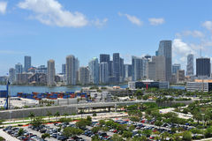 Miami Skyline and shipping docks. On a sunny day Stock Photos