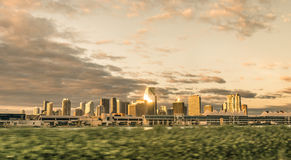 Miami skyline at sunrise from a speeding car Royalty Free Stock Photography