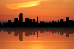 Miami Skyline at sunset Stock Photo