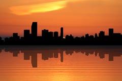 Miami Skyline at sunset Stock Photo