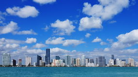 Miami skyline time lapse. Beautiful time lapse of the Miami skyline on a sunny day with lots of clouds stock video footage