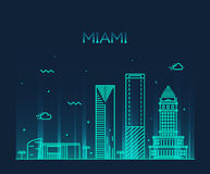 Miami skyline trendy vector illustration linear. Miami skyline at night, detailed silhouette Trendy vector illustration linear style Royalty Free Stock Photography