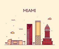 Miami skyline trendy vector illustration linear Stock Photography