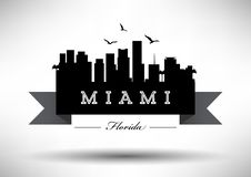 Miami Skyline with Typography Design royalty free illustration