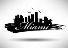 Miami Skyline with Typography Design vector illustration
