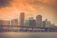 Miami Skyline Vintage stock photography