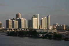 Miami citiscape. Skyscrapers and a bridge in Miami as the sun sets Stock Photography