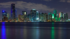 Miami Skyscrapers at Night. Miami skyline at night, seen from Key Biscayne Royalty Free Stock Photography