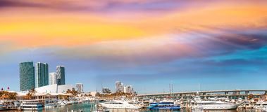 Miami small port with boats at sunset, Florida.  Royalty Free Stock Photography