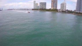 Miami snabb motorbåt lager videofilmer