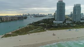 Miami South Beach and Miami Downtown. Aerial View. Miami South Beach and Miami Downtown on Cloudy Day. Aerial View. United States of America stock video footage