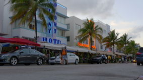 Miami south beach famous ocean drive 4k florida usa stock video footage