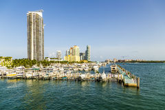 Miami south beach marina with skyline Royalty Free Stock Photos