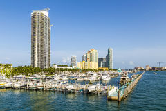 Miami south beach marina with skyline Stock Photos