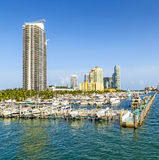 Miami south beach marina with skyline Stock Photography