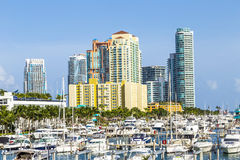 Miami south beach marina with skyline Royalty Free Stock Images