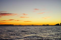 Miami south beach. Skyscrapers at sun set Stock Image