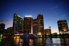 Miami south beach. Skyscrapers at sun set stock photo