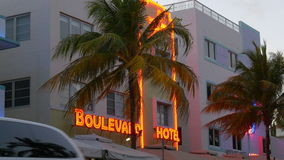 Miami south beach ocean drive famous neon hotel signboard 4k florida usa stock footage
