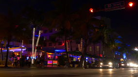 Miami south beach ocean drive famous night light club party 4k florida usa stock video footage