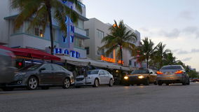 Miami south beach ocean drive traffic street 4k florida usa stock video footage