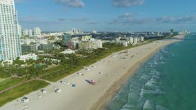 Miami south beach and ocean at sunny morning. Urban cityscape. Aerial view. United States of America stock video footage