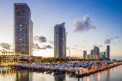 Miami south beach street view with water reflections and the mar. Miami south beach street view with water reflections at night and the marina Stock Photos