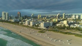 Miami south beach at sunny morning. Aerial view. Miami south beach at sunny morning. Urban skyline. Ocean waves. Aerial view. USA stock footage