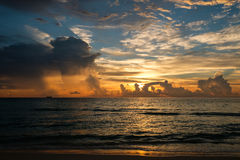 Miami South Beach sunrise with coastline and with colorful clouds Stock Photo