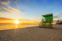Miami South Beach sunrise with lifeguard tower Stock Images