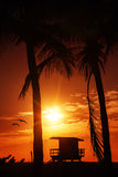 Miami South Beach sunrise with lifeguard tower Royalty Free Stock Photography
