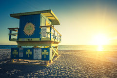 Miami South Beach sunrise, special photographic processing. Miami South Beach sunrise with lifeguard tower, special photographic processing, USA Royalty Free Stock Photos