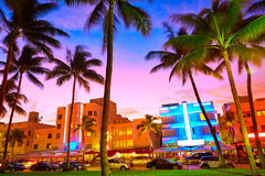 Miami South Beach sunset Ocean Drive Florida Stock Image