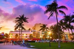 Miami South Beach sunset Ocean Drive Florida Stock Photos
