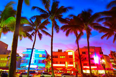 Miami South Beach sunset Ocean Drive Florida Royalty Free Stock Photos