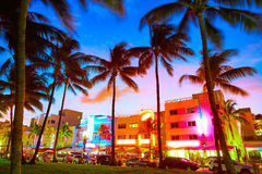 Miami South Beach sunset Ocean Drive Florida Royalty Free Stock Photo