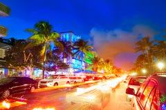 Miami South Beach sunset Ocean Drive Florida Royalty Free Stock Photos