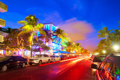 Miami South Beach sunset Ocean Drive Florida Royalty Free Stock Image