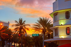 Miami South Beach sunset Ocean Drive Florida Royalty Free Stock Photography