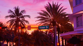 Miami South Beach sunset Ocean Drive Florida Stock Images