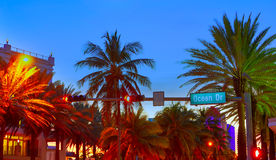 Miami South Beach sunset Ocean Drive Florida Royalty Free Stock Images