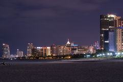 Miami South Beach Towers by night Royalty Free Stock Photography