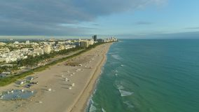 Miami South Beach and Ocean at Sunny Morning. Aerial View. Miami South Beach, Urban Skyline and Ocean at Sunny Morning. Aerial View. USA stock footage