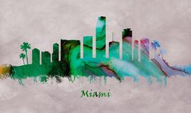 Miami stad i Florida, horisont vektor illustrationer