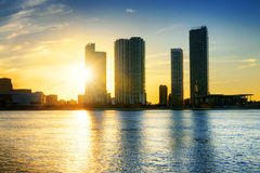 Miami stad vid natt Royaltyfri Bild