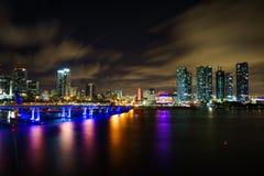 Miami-Stadtskylinepanorama an der Dämmerung mit städtischen Wolkenkratzern und Brücke über Meer mit Reflexion Stockbilder