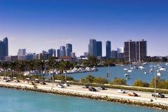 Miami, strada soprelevata di MacArthur, U.S.A., Florida Immagini Stock Libere da Diritti
