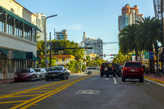 Miami street. Afternoon with many cars and blue skye Royalty Free Stock Image