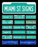 Miami Street Signs Stock Photos